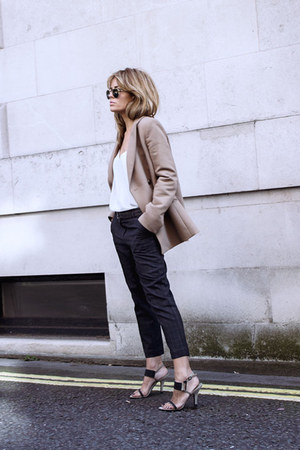 light brown Zara blazer - charcoal gray Primark pants - black Sonia Rikyel heels