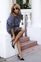 charcoal gray Zara sweater - black Zara dress - black Massimo Dutti heels