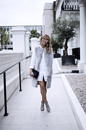 silver Zara boots - white Zara dress - silver Topshop jacket
