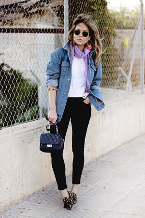 navy Topshop jeans - blue Forever 21 jacket - white lara talbot shirt