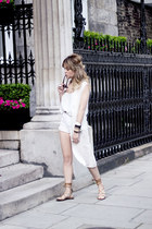 ivory Topshop shorts - ivory Bershka top - ivory vintage vest