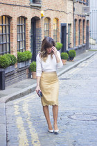 hot pink Zara skirt - sky blue H&M sweater - periwinkle Bershka bag