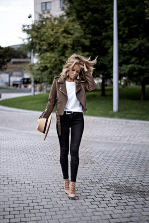 light brown Zara jacket - black asos jeans - light pink Topshop heels
