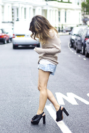 beige Zara sweater - sky blue Zara shorts - black Zara heels