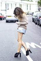 beige Zara sweater - sky blue Zara shorts - black Zara heels