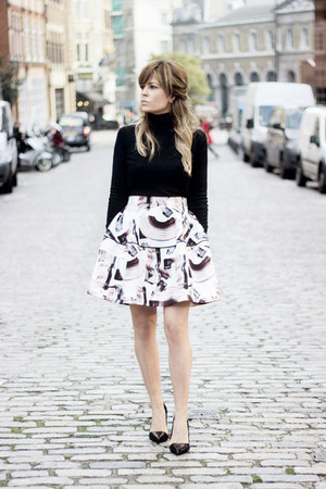 black Massimo Dutti sweater - off white hm skirt - black Office heels