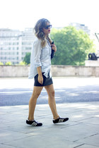 light blue Massimo Dutti shirt - black Adidas sneakers - black H&M skirt
