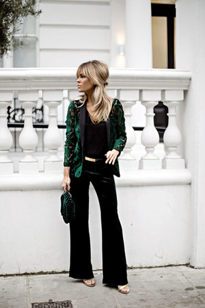 forest green Topshop blazer - forest green Zara pants - black Topshop top