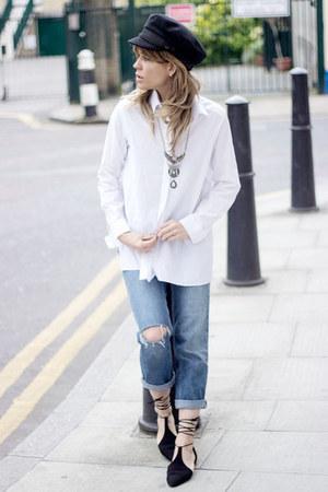 navy asos jeans - white Topshop shirt - black Zara flats