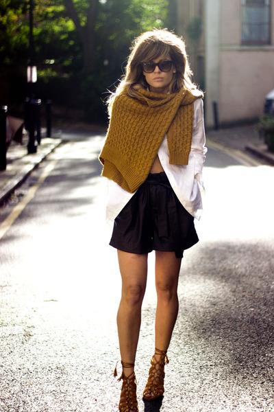 light orange Massimo Dutti sweater - ivory Massimo Dutti shirt