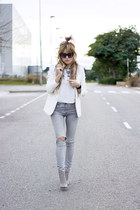 silver Mango jeans - white Mango blazer - white Topshop shirt