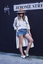 camel Miss Selfridge hat - off white H&M jacket - light blue hm shirt