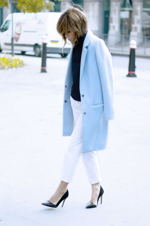 sky blue Fashion Union coat - white Topshop pants - navy Topshop Boutique top