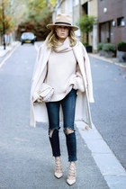 light pink Zara sweater - navy Zara jeans - beige Miss Selfridge hat