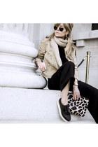black Stradivarius shoes - tan hm jacket - black Topshop sweater - tan Zara bag