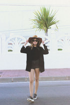 black Urban Outfitters sweater - bronze Zara hat - black Urban Outfitters blazer