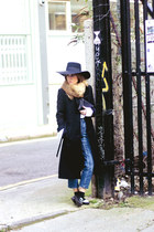 black vintage coat - blue asos jeans - white Massimo Dutti shirt