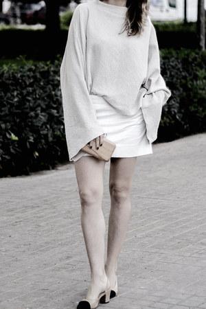 camel loeil shoes - off white Mango sweater - camel Mango bag
