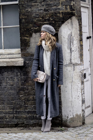 heather gray Zara coat - silver Zara boots - off white Topshop jeans