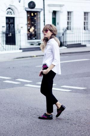 white Zara shirt - ruby red asos shoes - black Zara pants