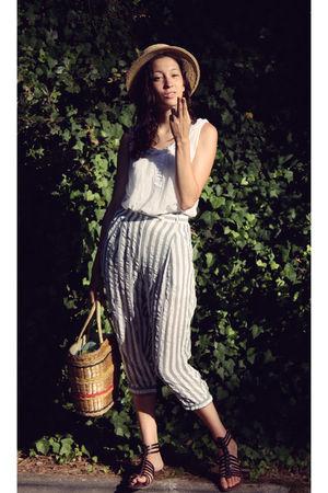 blue armani pants - white Zara shirt - beige vintage hat - brown shoes - beige v