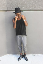 black All Saints boots - black Pendleton hat - black American Apparel top