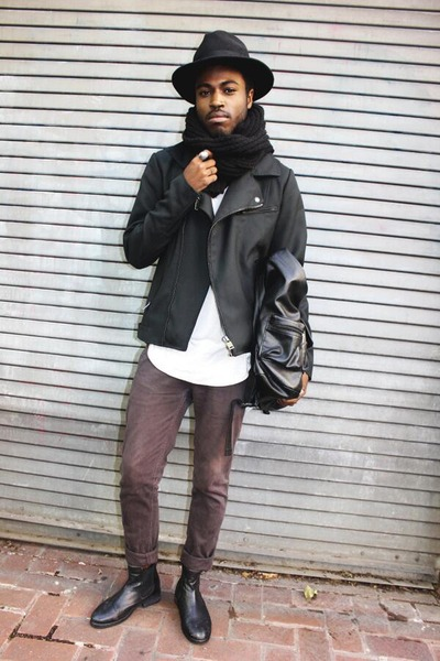 All Saints boots - Pendleton hat - Zara jacket - Aritzia shirt - Topman pants