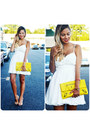 White-open-back-xenia-dress-yellow-yellow-clutch-balenciaga-bag