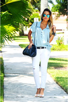 White Pants and Jeans Shirt