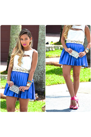blue metallic Nasty Gal skirt - white Zara shirt