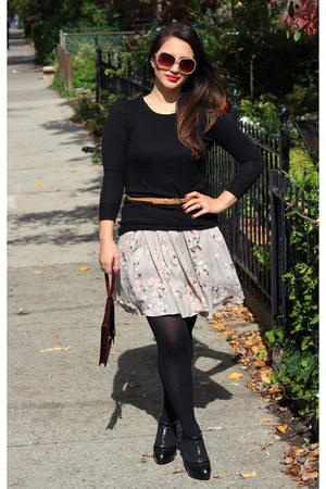 floral H&M dress - patent t-strap Nine West shoes - knit Zara sweater