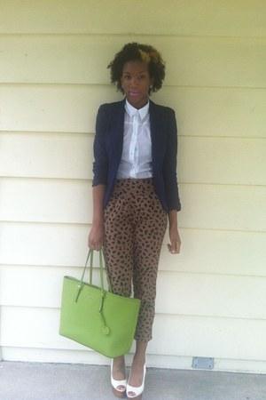 chartreuse tote Michael Kors bag - camel cheetah Forever 21 pants