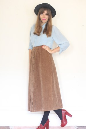 light brown corduroy maxi vintage skirt - sky blue silk vintage shirt