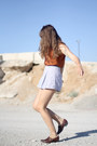 Light-blue-american-apparel-shorts-burnt-orange-silk-button-up-vintage-blouse