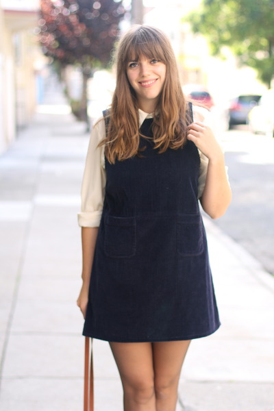 navy corduroy vintage dress - ivory silk vintage shirt
