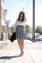 green pleated vintage skirt - crimson broags vintage flats