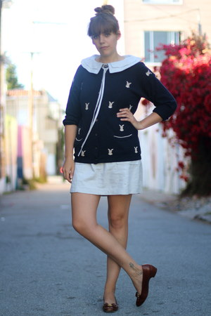 navy bunny print vintage cardigan - beige Dear Creatures dress