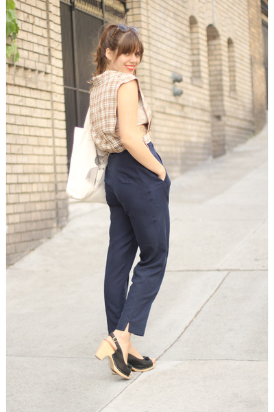 tan plaid 1950s vintage shirt - navy vintage pants
