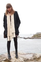 black vintage leather Justin boots - maroon flower print thrifted dress - black