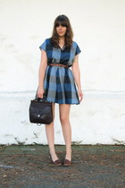 blue plaid thrifted vintage dress - dark brown vintage leather coach bag - brown