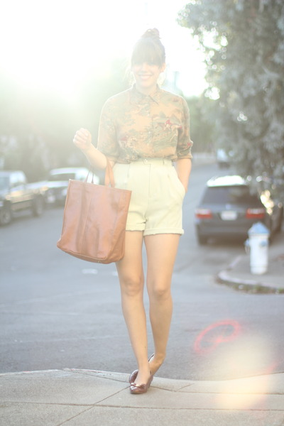 dark khaki novelty print vintage shirt - aquamarine silk vintage shorts