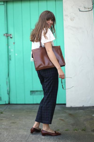 teal vintage pants - ivory lace cropped vintage blouse