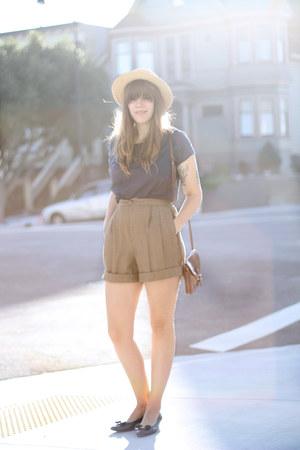 tan wool vintage shorts - navy ferragamos flats