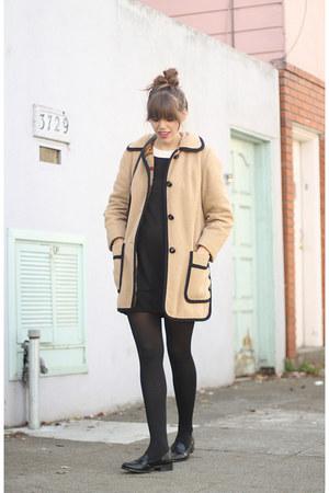 black 1960s vintage dress - beige vintage coat