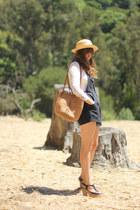 black platform Blowfish heels - camel straw thrifted hat