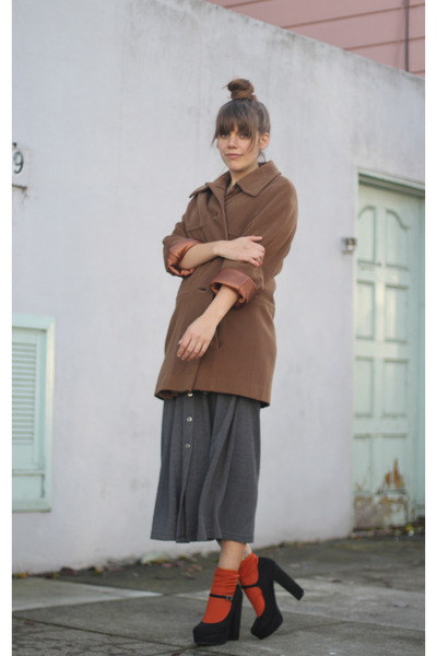 carrot orange H&M socks - heather gray maxi wool vintage dress