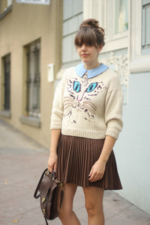 off white vintage sweater - dark brown pleated vintage shirt