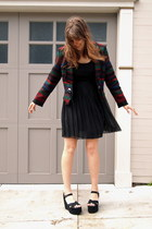 brick red woolrich blazer - black sheer thrifted Forever 21 skirt - black platfo