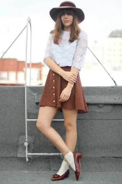 dark brown ferragamos vintage shoes - brown polka dot vintage skirt