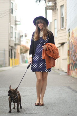 navy polka dot vintage dress - tawny wool cropped vintage coat